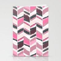 Geometric pink gray boho herringbone chevron pattern Stationery Cards