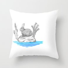 Rabbit in an island Throw Pillow