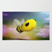 Bee Flying On Colour Sky Rug