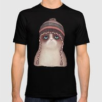 Christmas Cat Mens Fitted Tee Black SMALL