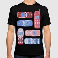 Vintage Cellphone Reactions Mens Fitted Tee Black SMALL