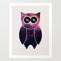 Owl Night Long Art Print