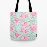 Pink  Roes and French Script Tote Bag