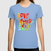 Love Womens Fitted Tee Tri-Blue SMALL
