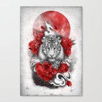 White tiger, red sun Canvas Print