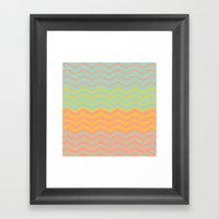 Colorful Chevron On Peac… Framed Art Print