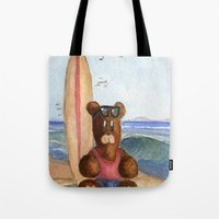 Surfer Bear Tote Bag