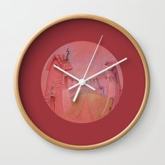 Houses in the sunset Wall Clock