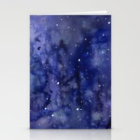 Night Sky Galaxy Stars | Watercolor Space Texture Stationery Cards