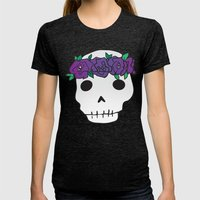 Princess Skull Womens Fitted Tee Tri-Black SMALL