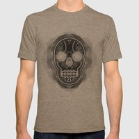 Black skull Mens Fitted Tee Tri-Coffee SMALL