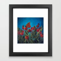 Butterfly in Rose Hips Framed Art Print