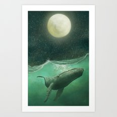 The Whale & The Moon Art Print