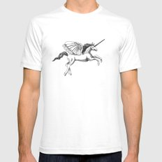 Arty Unicorn SMALL Mens Fitted Tee White