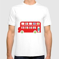 PINTMON_DOUBLE DECKER BUS  Mens Fitted Tee White SMALL
