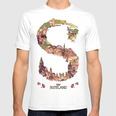 S is for Scotland White SMALL Mens Fitted Tee