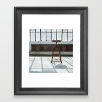 Stool In Factory Framed Art Print