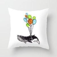 Balloons Whale Throw Pillow