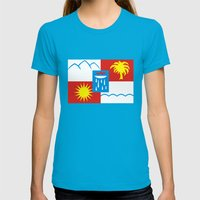 Sochi flag Womens Fitted Tee Teal SMALL