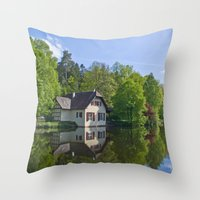 House at and in the water Throw Pillow