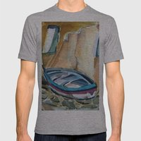 Italian Riviera Row Boat Mens Fitted Tee Athletic Grey SMALL