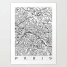 Paris Map Line Art Print
