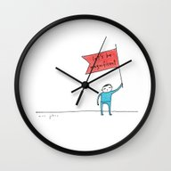 Wall Clock featuring Let's Be Magnificent by Marc Johns