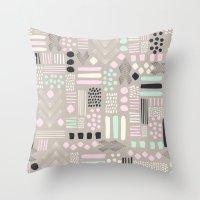 Pastel Tribal Patchwork Throw Pillow