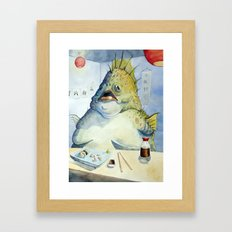 Fish Walks Into a Sushi Bar Framed Art Print