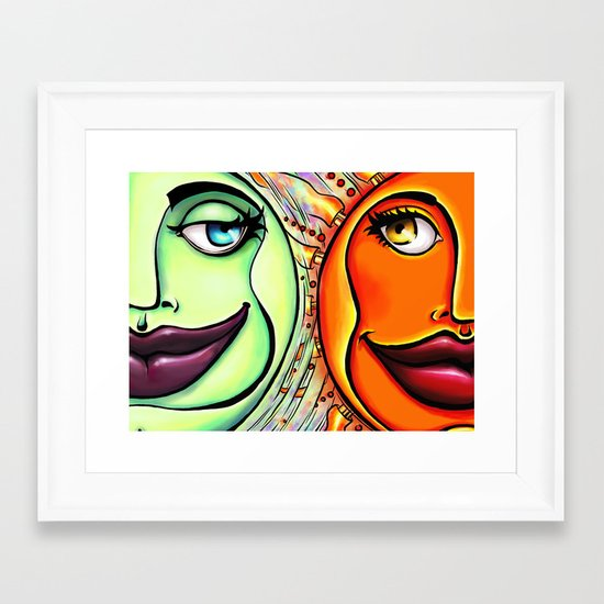 Moon & Sun Framed Art Print