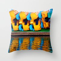 Paddle Boats Throw Pillow