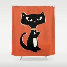 Suspiciously Cute Black Cat Shower Curtain
