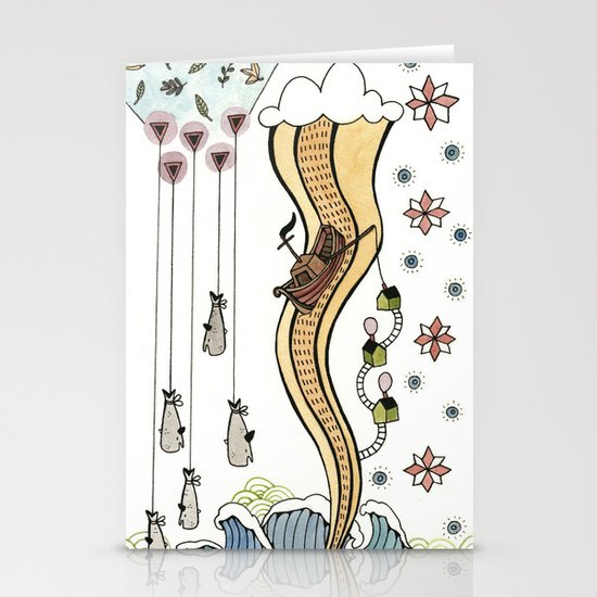 Hanging Whales Stationery Card