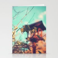 Warm Fall (Leafs on turquoise vintage - retro  sky and Japanese lamp) Stationery Cards
