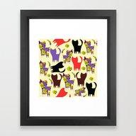 Framed Art Print featuring Cats Pattern #4W by Luizavictorya72