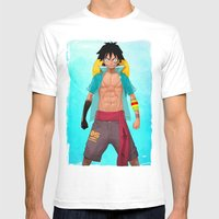 Luffy Mens Fitted Tee White SMALL