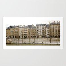 Snowy Apartments Paris Art Print