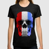 Polygon Heroes - The Patriot Skull Womens Fitted Tee Tri-Black SMALL