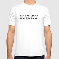 Saturday Morning Mens Fitted Tee White SMALL