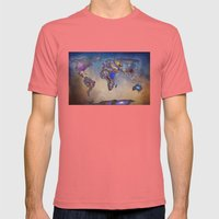 Stars world map. Blue Mens Fitted Tee Pomegranate SMALL
