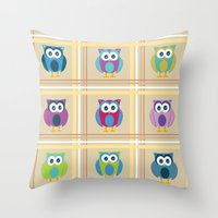 Plaid Owls Throw Pillow