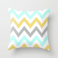 BLUE/GRAY/YELLOW CHEVRON Throw Pillow