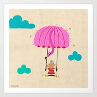 one of the many uses of a flamingo - parachute Art Print