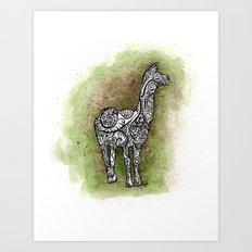 llama on a trip Art Print