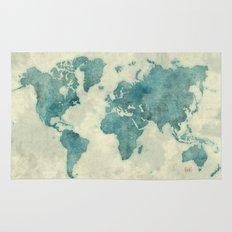 World Map Blue Vintage Rug