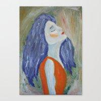 Canvas Print featuring Girl In Orange  by Tara Bateman