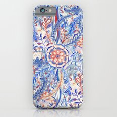 Boho Flower Burst in Red and Blue iPhone 6 Slim Case