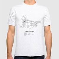 Twin Cities Lines Map Mens Fitted Tee Ash Grey SMALL