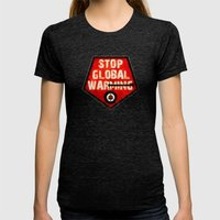 STOP GLOBAL MING ! Womens Fitted Tee Tri-Black SMALL