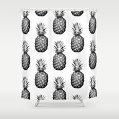 Black & White Pineapple Shower Curtain